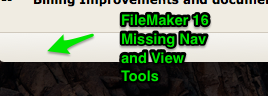 FileMaker 16 Missing Nav and Display tools